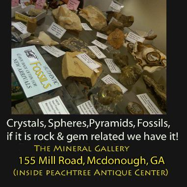 we have rocks, crystals, minerals, and fossils for sale in our rock shop just South of Atlanta, Georgia